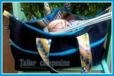 Borsa portalavoro in jeans con cerniere / Jeans di Tallercampesino, €18.00