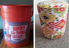 Guild of Goods: Before/After: Bucket to Ottoman, footstool, campstool or just a seat for kids room with toy storage inside
