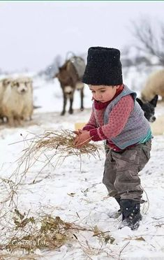 Romanian rural life ~ Photo by Marian Mocanu Kids Around The World, People Around The World, Precious Children, Beautiful Children, Little People, Little Boys, Snow Scenes, Baby Kind, Country Life