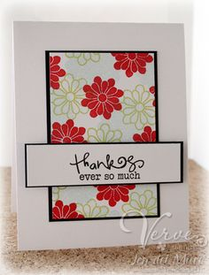 handmade card .... clean and simple design ... luv the black edges from layering to define the rectangles ... stamped flowers remind me of  pretty kimono prints ...