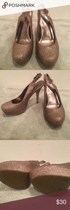 Candies brand Gold sparkle heels  size 10 Candies Brand heels gold shoe with multicolor sparkle (glitter) soo much fun never worn. My lost your gain size 10 Candie's Shoes Heels