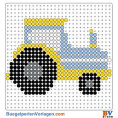 Traktor Bügelperlen Vorlage. Auf buegelperlenvorlagen.com kannst du eine große Auswahl an Bügelperlen Vorlagen in PDF Format kostenlos herunterladen und ausdrucken.