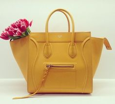 yellow Céline bag with tulips