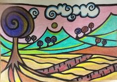 Terraced lanscape. Painted with coloured pencils.