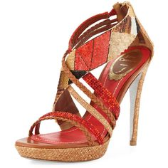 Rene Caovilla Strappy Sequined Patchwork 130mm Sandal (€165) ❤ liked on Polyvore featuring shoes, sandals, red, red sandals, red platform sandals, crisscross sandals, platform sandals and red shoes