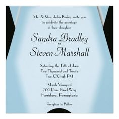 Blue wedding invitations by the artists at Zazzle. Click on any image to see the available sizes and matching sets