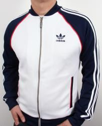 Adidas - Superstar Track Top in White/Navy Blue Adidas Tracksuit, Tracksuit Jacket, Tracksuit Tops, Adidas Jacket, Adidas Retro, Vintage Adidas, Track Suit Men, Adidas Outfit, Vintage Jacket