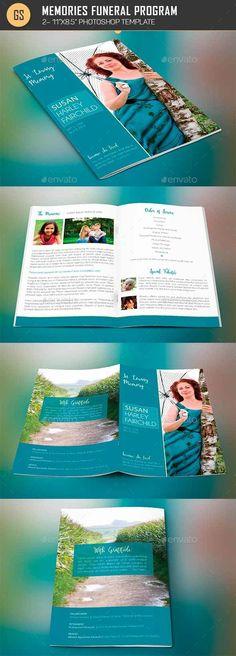 Memories Funeral Program Template #female #Obituary #blue #order • Download ➝ https://graphicriver.net/item/memories-funeral-program-template/17870662?ref=pxcr