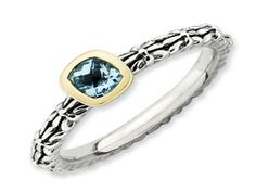 Checkerboard Cut Blue Topaz Sterling Silver 14K Gold Stackable Ring (Online at Gemologica.com)