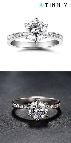 Official Website Hot Sale Classic Design Six Claw 0.6 Ct Synthetic Diamonds Women Ring Round Brilliant Cut Sterling Silver Engagement Jewelry 925 Numerous In Variety Wedding & Engagement Jewelry Jewelry & Accessories