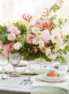 Romantic, garden place setting