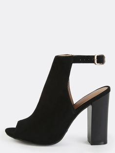 Peep Toe Backless Ankle Booties BLACK