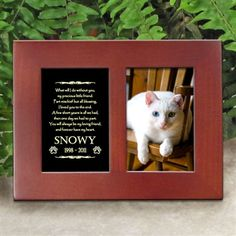 'Golden Memories' Personalized Pet Cat Memorial Picture Frame | EtchedInMyHeart.com | Walnut Brown Finish - $19.95