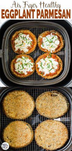 Air Fryer Oven Recipes, Air Frier Recipes, Air Fryer Dinner Recipes, Air Fryer Recipes Vegetables, Healthy Recipes, Vegetarian Recipes, Cooking Recipes, Healthy Eggplant Recipes, Healthy Eggplant Parmesan