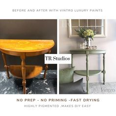 """Vintro """"No Seal"""" Chalk Painted half round side table in TR Studios NZ. Vintro Colour : Sage with Vintro Metallic Gold effect top. Black Chalk Paint, Gold Paint, Half Round Table, Painted Side Tables, Metallic Top, Dark Wax, Sage, Entryway Tables, Easy Diy"""