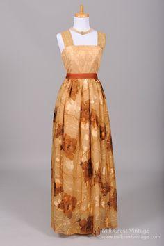 1960 Bronze Chiffon Vintage Evening Gown