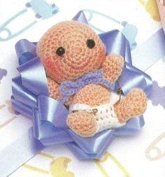 Cute crochet baby babyshower favor gift funny sweet +++ GANCHILLO BEBE RECIEN NACIDO REGALO BAUTIZO RECUERDO LINDO
