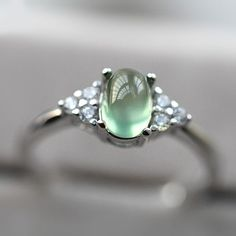 2017 New Simple Design 925 Silver Prehnite Promise Ring [100742] - $73.00 : jewelsin.com