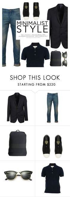 """""""minimalist style"""" by italist ❤ liked on Polyvore featuring Lanvin, Gucci, Y-3, H&M, Ray-Ban, Maison Margiela, men's fashion and menswear"""