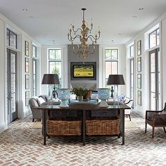 When homeowners invite guests and company into their home typically the first thing that visitors see is the living room, or family room, of the house. Unless there is a foyer before the living roo… Brick Look Tile, Brick Tile Floor, Brick Floor Kitchen, Brick Flooring, Living Room Flooring, Kitchen Flooring, Ceramic Flooring, White Flooring, Patio Flooring