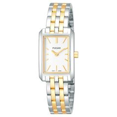 Women's Pulsar Watch - Two Tone with White Dial - PRW001X, Silver