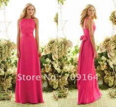 Fashion A-line Long Chiffon Fushia Formal Bridesmaid Dresses 2013 Floor Length FB152 $109.97