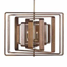 Nellcote Studio Spiral of Light Pendant - Walnut   Linear   Chandeliers   Lighting   Candelabra, Inc.