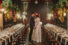 Jodie + Brendan | Hanging floral installation | The Lightspace Brisbane | HOORAY! Mag