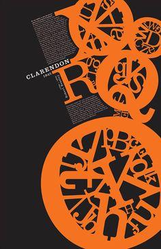 Clarendon Type Poster by Maria Aguila, via Behance typography Poster Fonts, Type Posters, Typographic Poster, Graphic Design Posters, Graphic Design Typography, Japanese Typography, Web Design, Book Design, Design Art