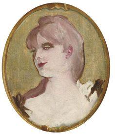 Henri de Toulouse-Lautrec (1864-1901) Portrait de femme (Médaillon pour la décoration du salon de la Maison de la rue d'Amboise, Paris). 10¼ x 8¾ in.