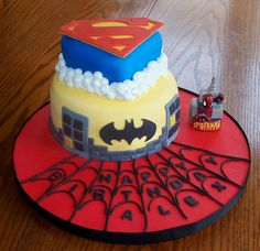 Super Hero - I made this for my son's 3rd birthday party, he loves all the Justice League super heros. I experimented with the cookie layer in these cakes too, it got some good reviews. Thanks for looking.