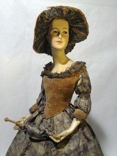 Demi figurine plâtre ancien poupée Figure de salon half boudoir doll