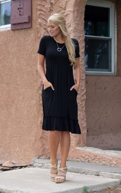 The Reagan – Mountain Aire Boutique Perfect Little Black Dress, Dress Up, Shirt Dress, Black Midi Dress, Boutique Clothing, Mountain, Fabric, How To Wear, Shirts