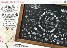 Floral Clipart with Curls, Swirls, Wreaths and Decorative Elements - Blog Graphics - https://www.etsy.com/listing/201136965