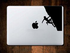 Rock Climber Decal #4,  Mountain Decal, Laptop Decal, Macbook Decal,climbing sticker, laptop sticker, climber gift, Macbook Sticker by NebraskaVinyl on Etsy