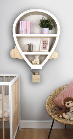 Baby Room Design, Baby Room Decor, Nursery Furniture, Furniture Ideas, Modern Baby Furniture, Wood Nursery, Nursery Wall Shelf, Shelves Baby Room, Kids Wall Shelves