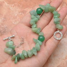 Green Aventurine Tumbled and Rounds Bracelet - pinned by pin4etsy.com
