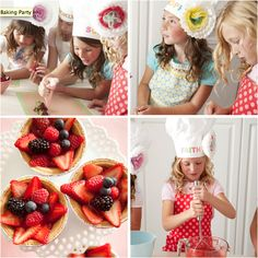 OMG!!!! I HAVE TO DO THIS FOR NIGELLA ONE DAY!!!! Guests at this adorable baking party were put right to work after donning their custom chef's hats and aprons. Working their way through seven pastry stations, the guests made old-school treats, like strawberry tarts and chocolate-dipped strawberries.    Source: One Charming Party