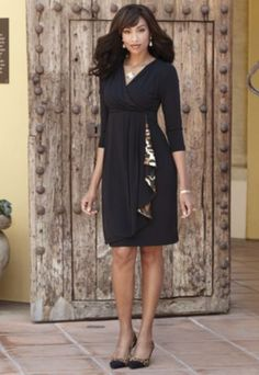 Little Black Leopard Trim Dress from Midnight Velvet. www.midnightvelvet.com