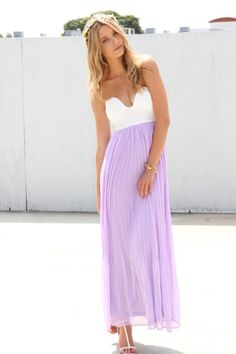 Lavender Tea Maxi  $68.00 Super cute lilac chiffon maxi dress featuring accordion pleated detailing and a plunging cup bodice. Exposed zip closure at back, fully lined. Perfect paired with oversized sunnies and strappy heels! By Sabo Skirt