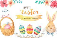 Watercolor Easter Set from DesignBundles.net