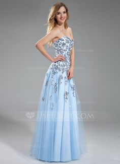 A-Line/Princess Sweetheart Floor-Length Satin Tulle Prom Dress With Appliques Sequins (018018822) ~$280 US