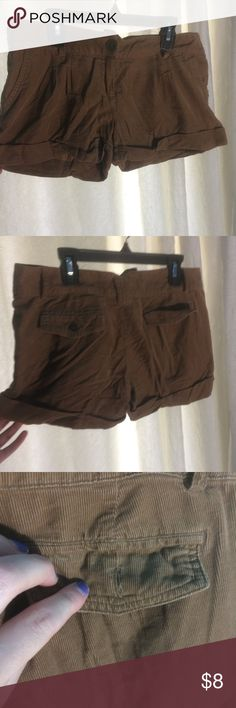 Small Brown Corduroy Shorts Super cute if you're dressing up like Shaggy from Scooby Doo. They're small, brown shorts and they've only been worn a few times but they're missing a button which is a super easy fix. Message me with any questions! Stacato Shorts