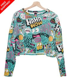 FREE SHIPPING CARTOON crop sweater cool crazy printed jumper hipster grunge retro fashion tumblr heart swag dope cara funny teen swag girl