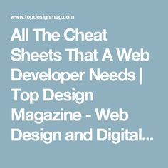 All The Cheat Sheets That A Web Developer Needs | Top Design Magazine - Web Design and Digital Content
