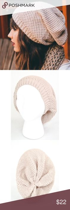 Oatmeal Waffle Knit Beanie Oatmeal Waffle Knit slouch beanie.  Fabric: 100% Acrylic Accessories Hats