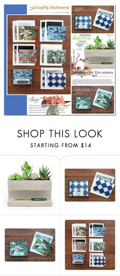 """""""GrayFly Stationery - 3"""" by anyasdesigns ❤ liked on Polyvore featuring interior, interiors, interior design, home, home decor, interior decorating, Kikkerland, contemporary, Home and homeset"""