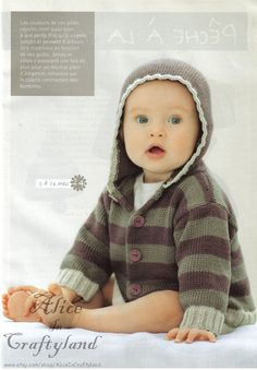 This striped knit hoodie made with cotton ease is great for outdoor english baby knitting pattern hooded striped sweater jacket coat pdf dt1010fo