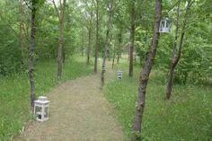 Un sentiero nel parco, bello passeggiarci di sera con le lanterne accese.