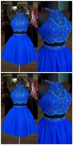 Real Photos Halter Neck Beaded Rhinestone Two Pieces Homecoming Dresses Sexy Backless A Line Tulle Short Prom Dresses,Royal Blue Short Cocktail Gowns . Cute Prom Dresses, Sweet 16 Dresses, Trendy Dresses, 15 Dresses, Homecoming Dresses, Sexy Dresses, Beautiful Dresses, Evening Dresses, Formal Dresses
